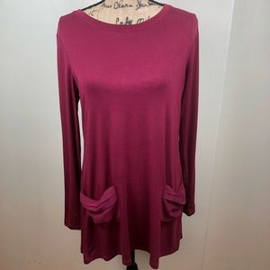 LOGO by Lori Goldstein Knit Tunic Burgundy Size S
